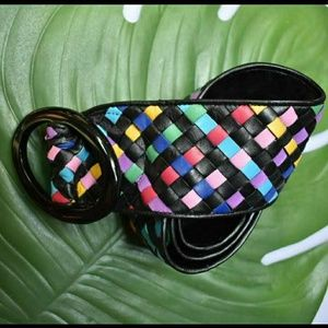 Vintage 80s wide rainbow woven leather belt.